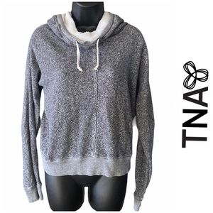 🤍3/$30 TNA Clifton Cowl Hoodie Pullover Grey XS